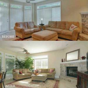 kansas city home staging living room before and after
