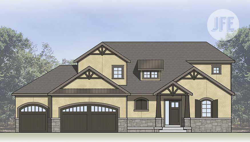 Woodland Front Elevation by JFE Construction